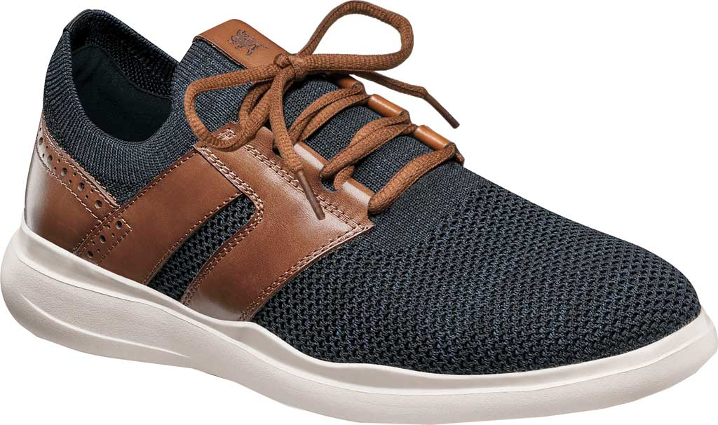 Men's Stacy Adams Moxley Knit Sneaker, Navy/Cognac Knit/Leather, large, image 1