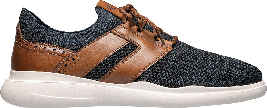 Men's Stacy Adams Moxley Knit Sneaker, Navy/Cognac Knit/Leather, large, image 2