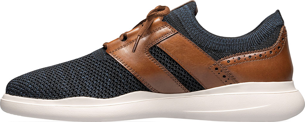 Men's Stacy Adams Moxley Knit Sneaker, Navy/Cognac Knit/Leather, large, image 3