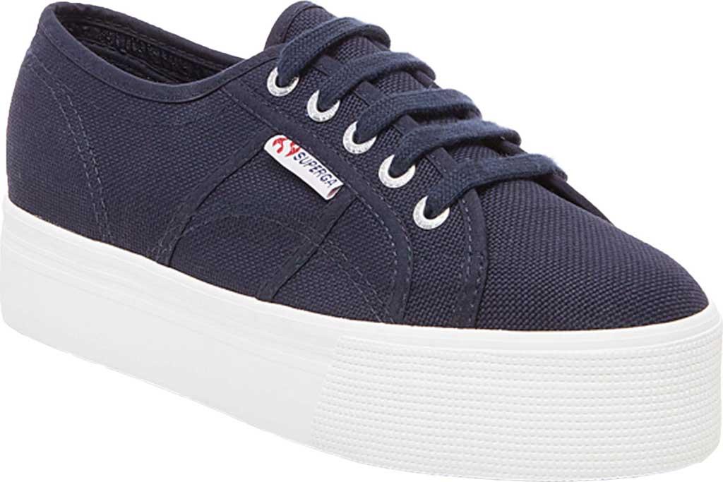 Women's Superga 2790 ACTOW Flatform Sneaker, Navy Canvas/Cotton, large, image 1