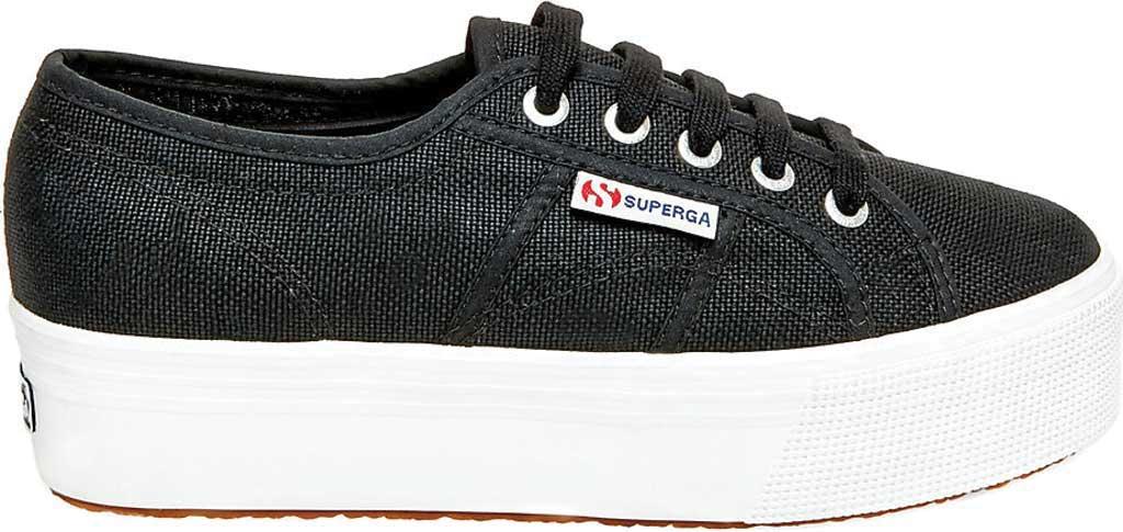 Women's Superga 2790 ACTOW Flatform Sneaker, Black/White, large, image 2