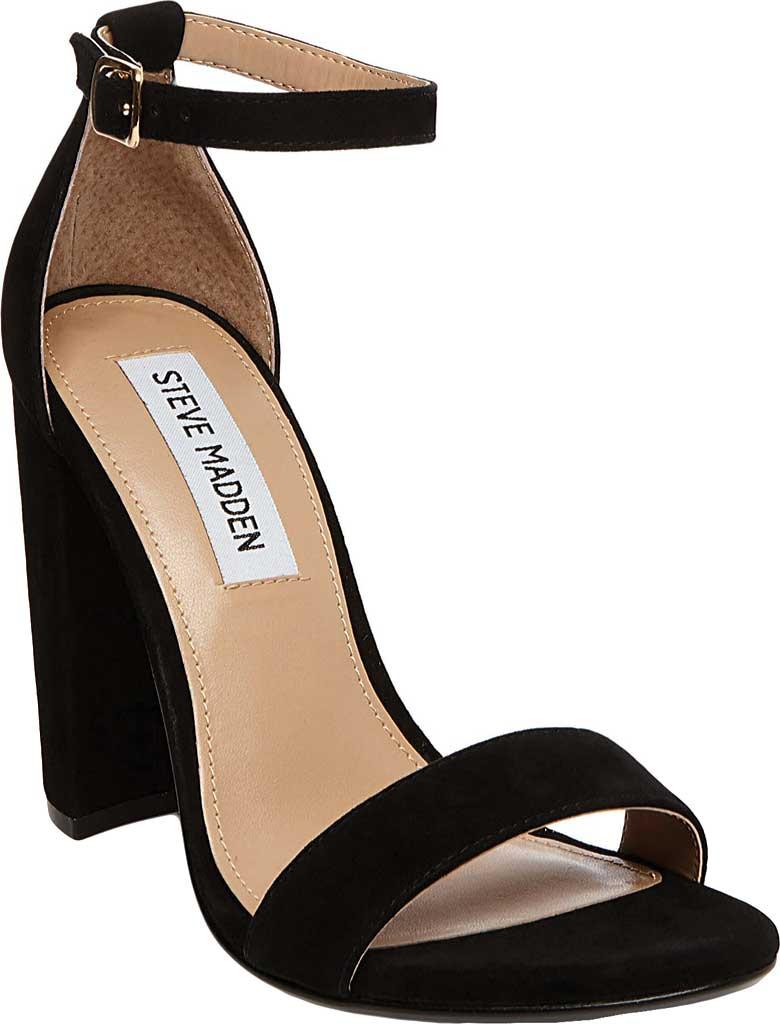 Women's Steve Madden Carrson Ankle Strap Sandal, Black Suede, large, image 1