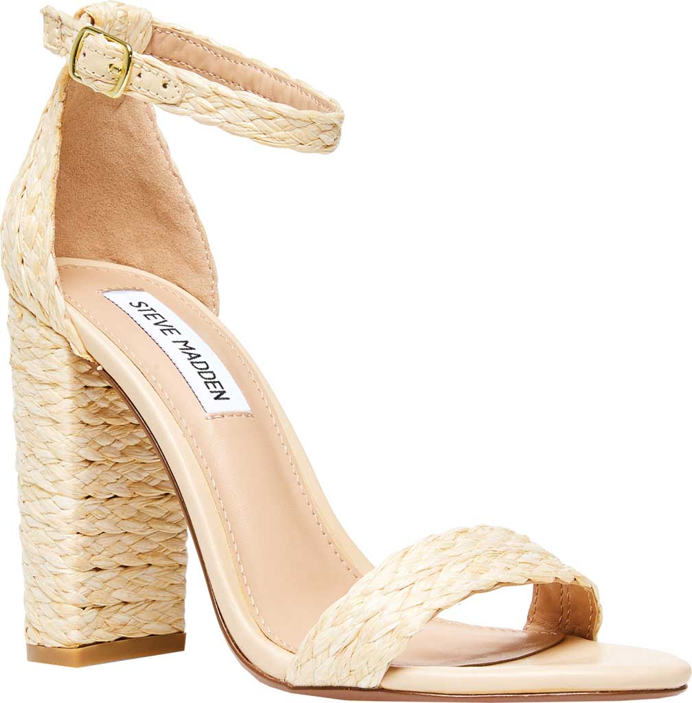 Women's Steve Madden Carrson Ankle Strap Sandal, Natural Raffia Synthetic, large, image 1