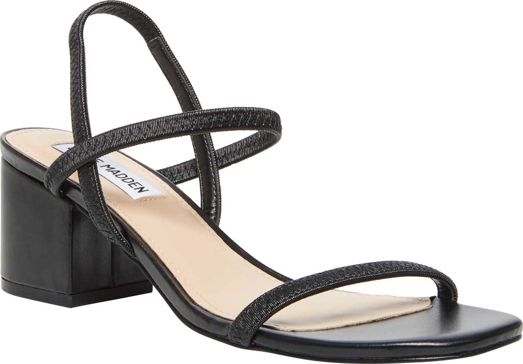 Women's Steve Madden Inessa Block Heel Sandal, Black Synthetic, large, image 1
