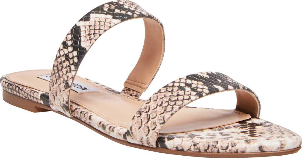 Women's Steve Madden Monaco Two Band Slide, Natural Snake Synthetic Leather, large, image 1