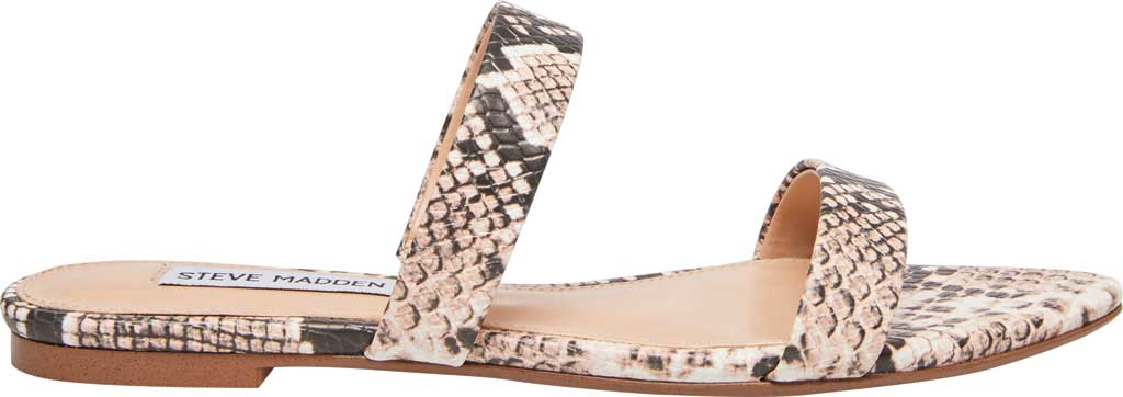 Women's Steve Madden Monaco Two Band Slide, Natural Snake Synthetic Leather, large, image 2