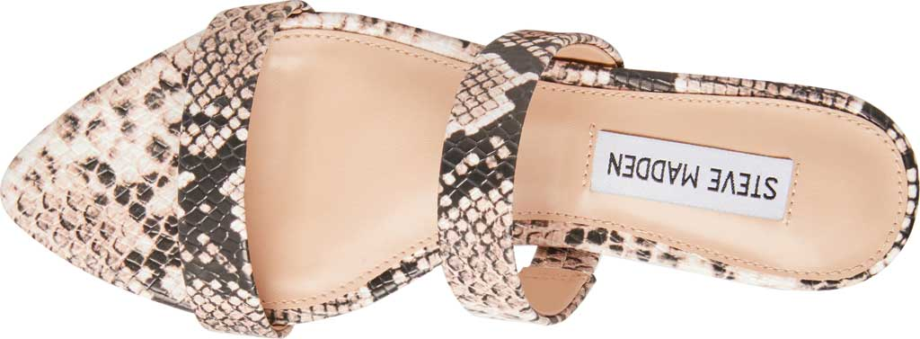 Women's Steve Madden Monaco Two Band Slide, Natural Snake Synthetic Leather, large, image 4