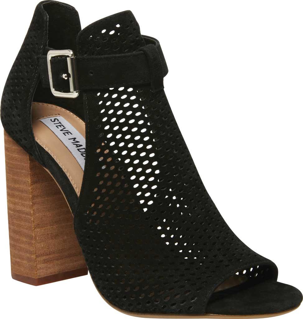 Women's Steve Madden Shauna Block Heel Sandal, Black Perforated Suede, large, image 1