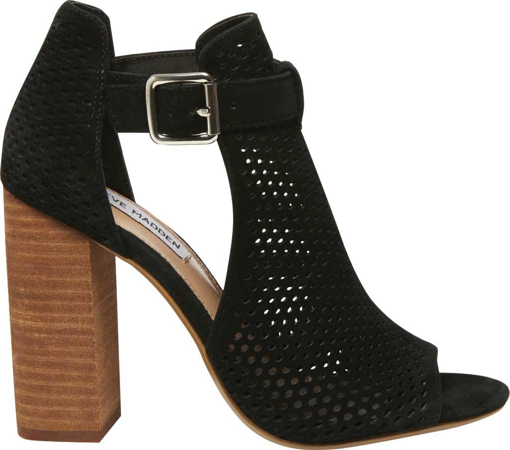 Women's Steve Madden Shauna Block Heel Sandal, Black Perforated Suede, large, image 2