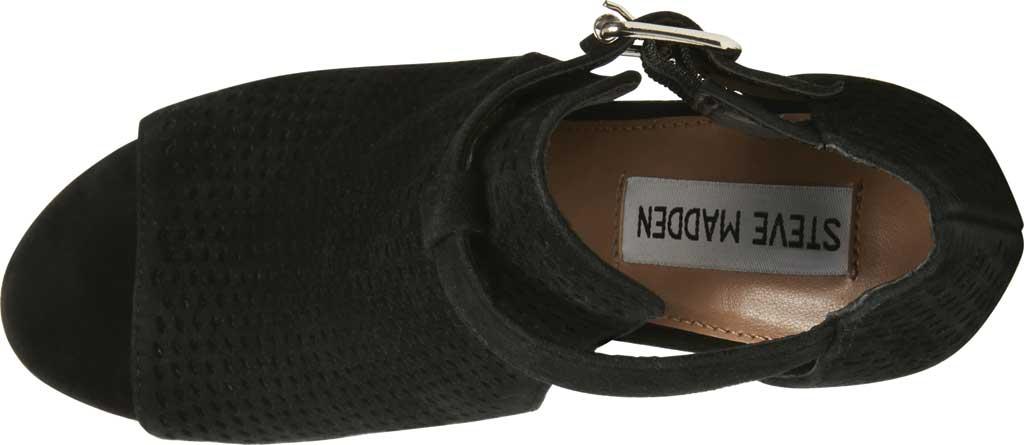 Women's Steve Madden Shauna Block Heel Sandal, Black Perforated Suede, large, image 4