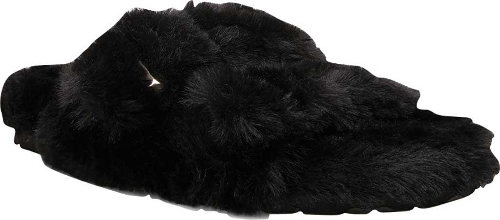 Women's Steve Madden Around Faux Fur Slide Slipper, Black Faux Fur, large, image 1
