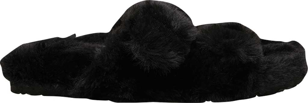 Women's Steve Madden Around Faux Fur Slide Slipper, Black Faux Fur, large, image 2