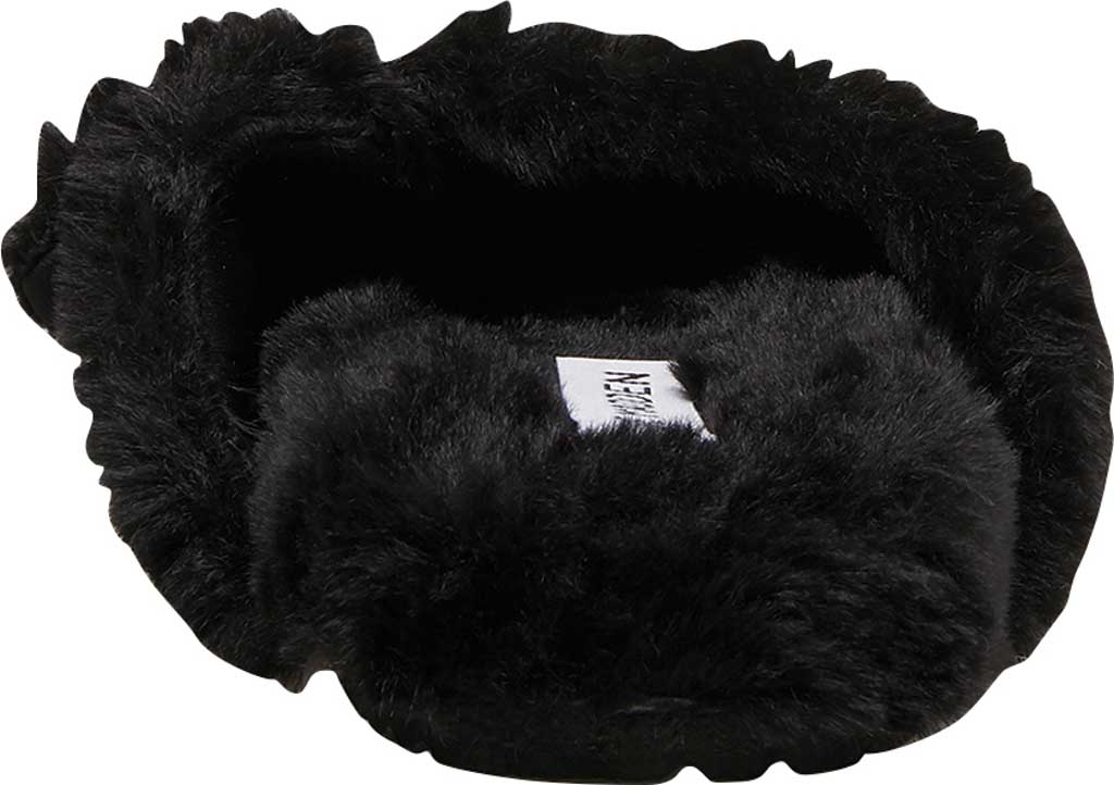 Women's Steve Madden Around Faux Fur Slide Slipper, Black Faux Fur, large, image 3