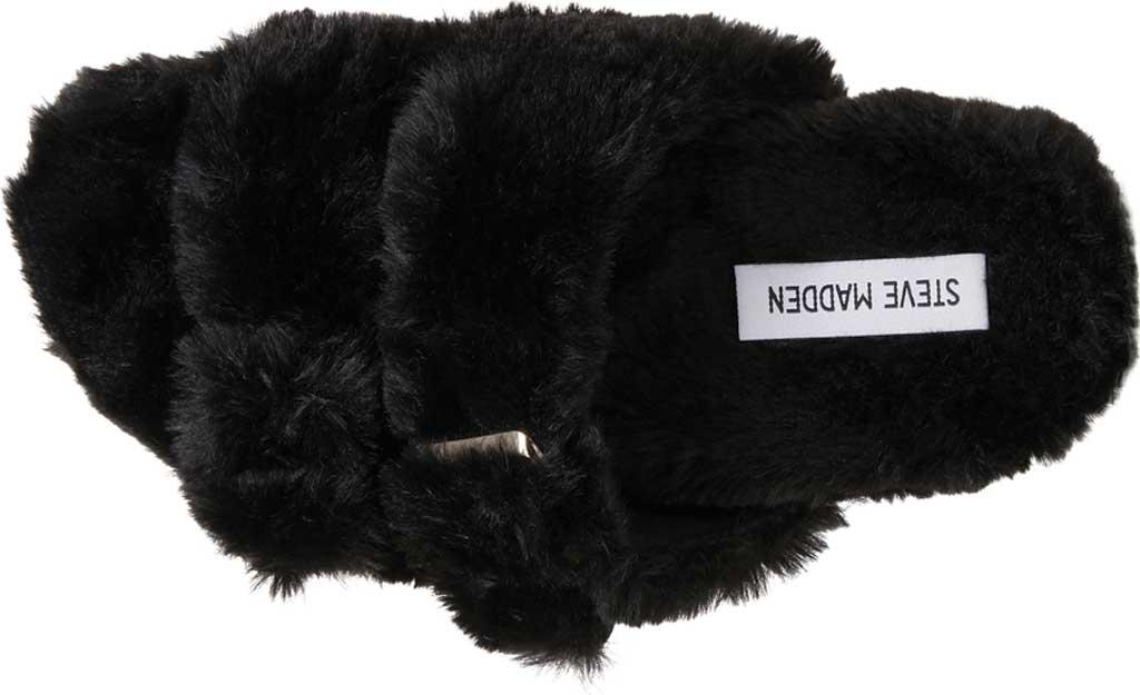 Women's Steve Madden Around Faux Fur Slide Slipper, Black Faux Fur, large, image 4