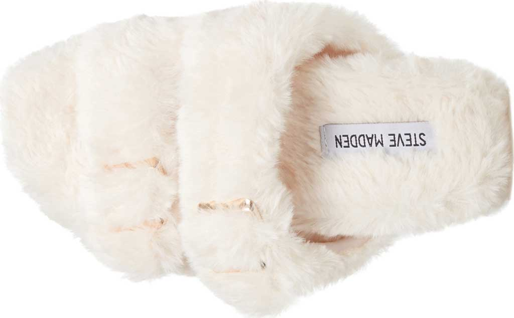 Women's Steve Madden Around Faux Fur Slide Slipper, Ivory Faux Fur, large, image 4