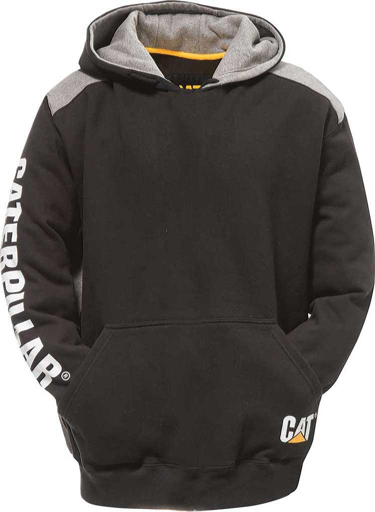 Men's Caterpillar Logo Panel Hooded Sweatshirt, Black, large, image 1