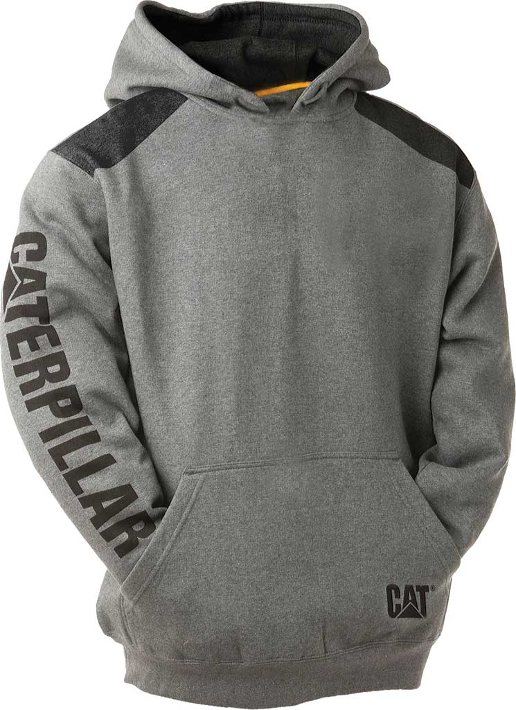 Men's Caterpillar Logo Panel Hooded Sweatshirt, Dark Grey Heather, large, image 1
