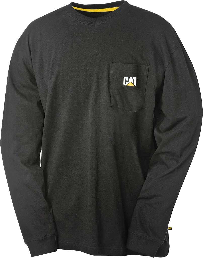 Men's Caterpillar Trademark Pocket Long Sleeve Tee, Black, large, image 1
