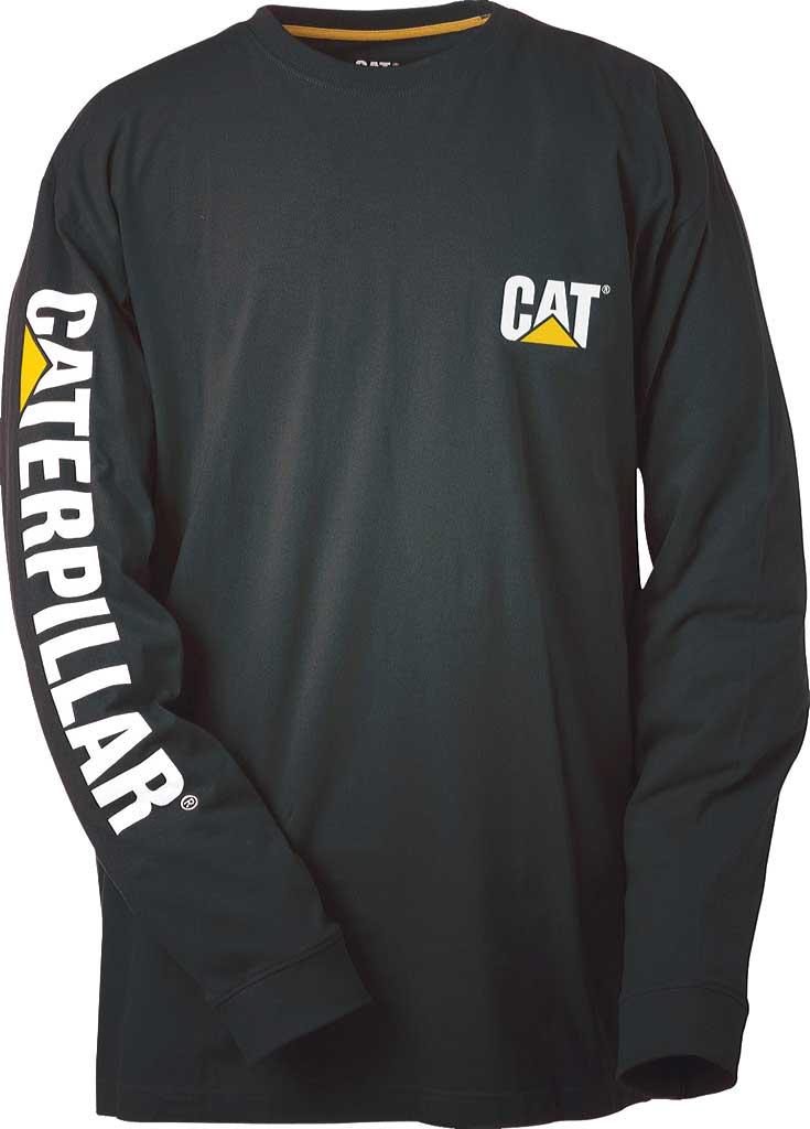 Men's Caterpillar Trademark Banner Long Sleeve Tee, Black, large, image 1