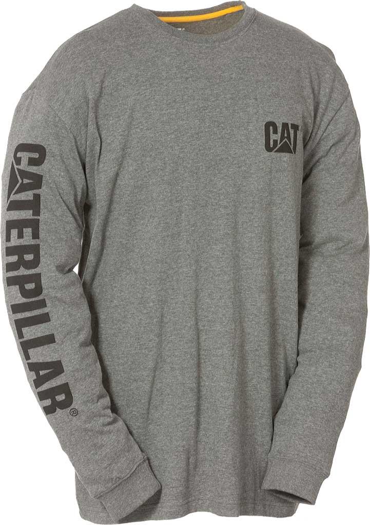 Men's Caterpillar Trademark Banner Long Sleeve Tee, Dark Grey Heather, large, image 1