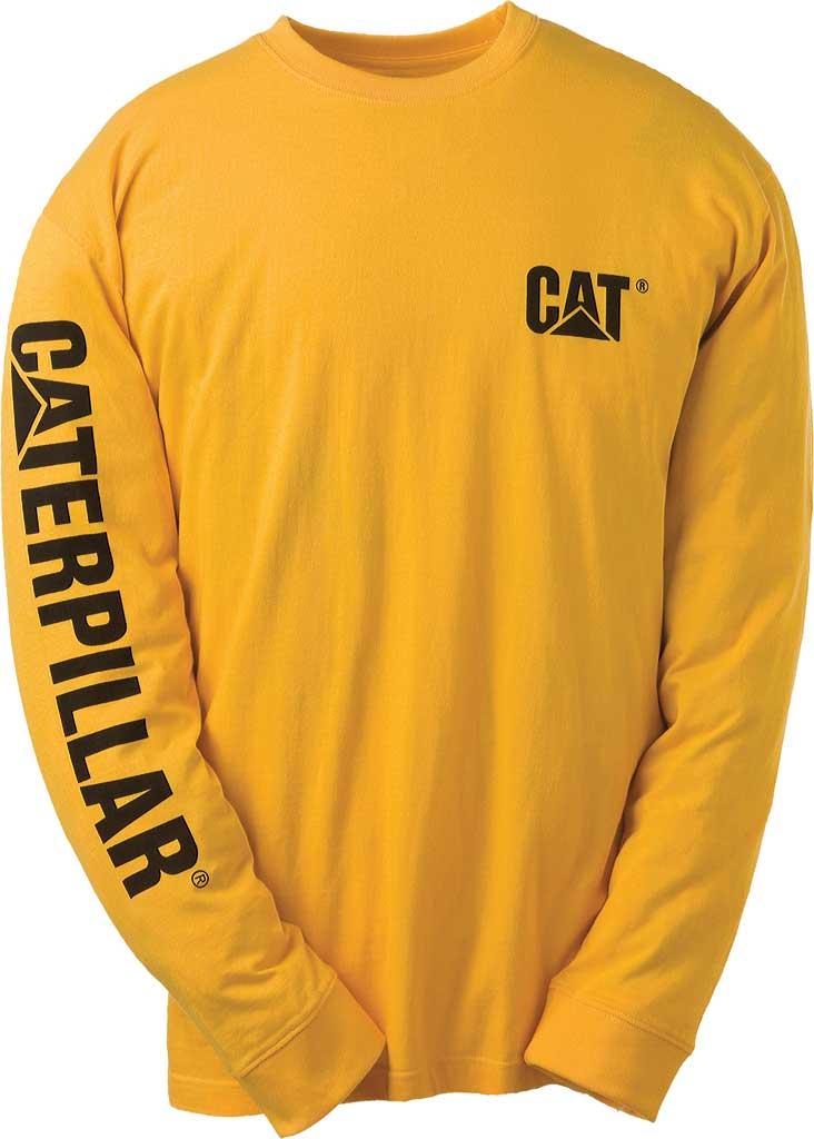 Men's Caterpillar Trademark Banner Long Sleeve Tee, Yellow, large, image 1