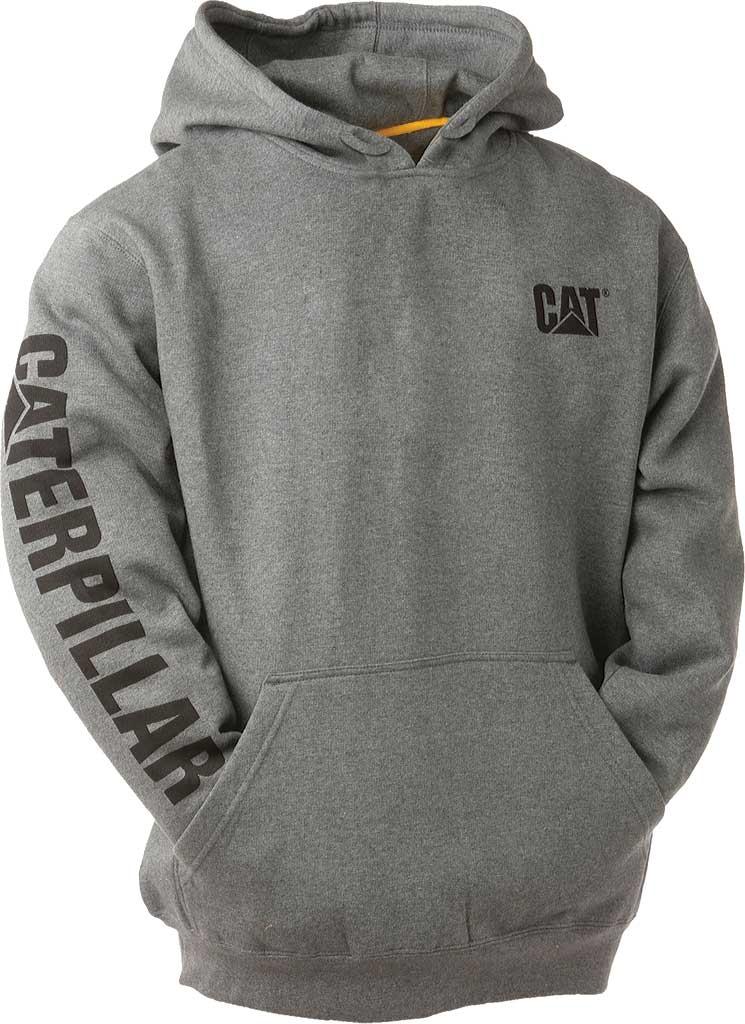 Men's Caterpillar Trademark Banner Hooded Sweatshirt, Dark Grey Heather, large, image 1