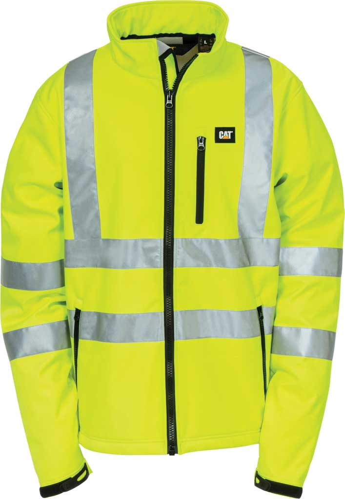 Men's Caterpillar HI VIS Soft Shell Jacket, Hi-Vis Yellow, large, image 1