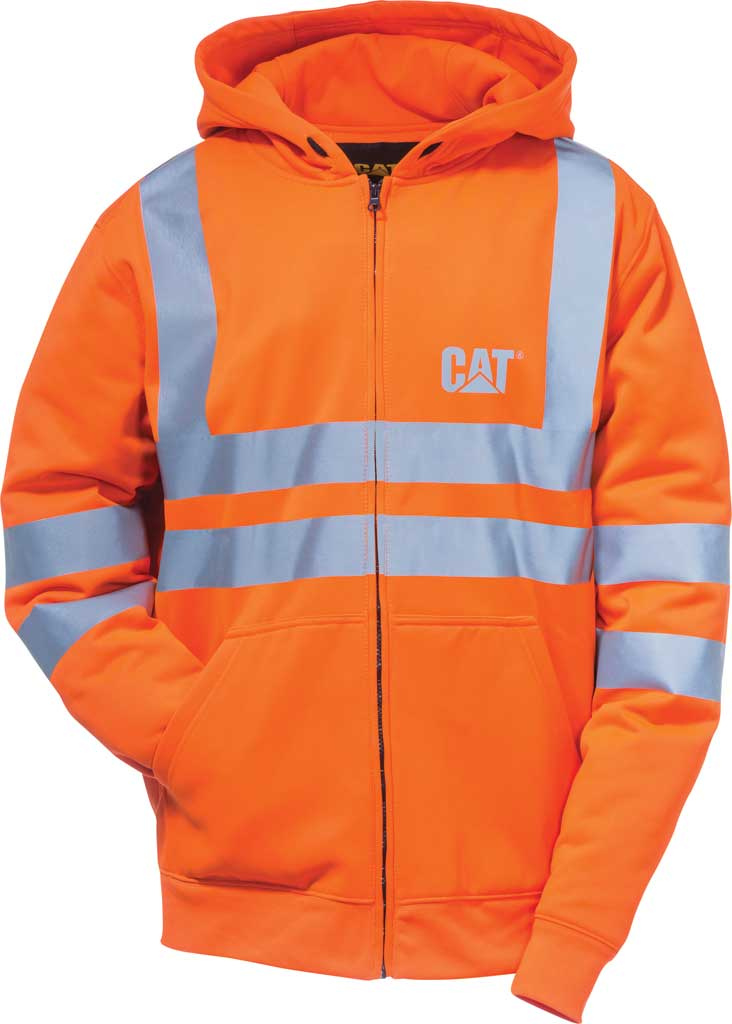 Men's Caterpillar HI VIS Full Zip Lined Sweatshirt, Hi Vis Orange, large, image 1