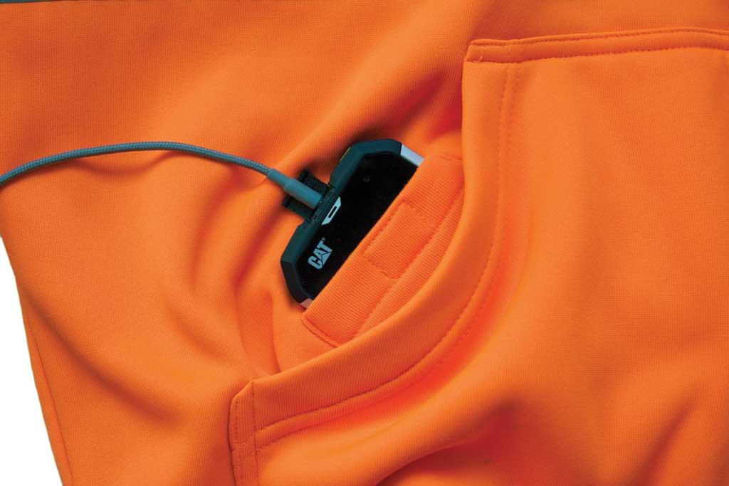 Men's Caterpillar HI VIS Full Zip Lined Sweatshirt, Hi Vis Orange, large, image 3