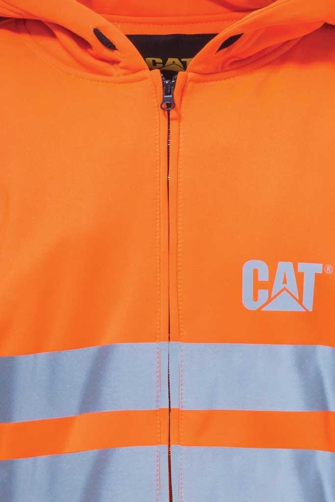 Men's Caterpillar HI VIS Full Zip Lined Sweatshirt, Hi Vis Orange, large, image 4