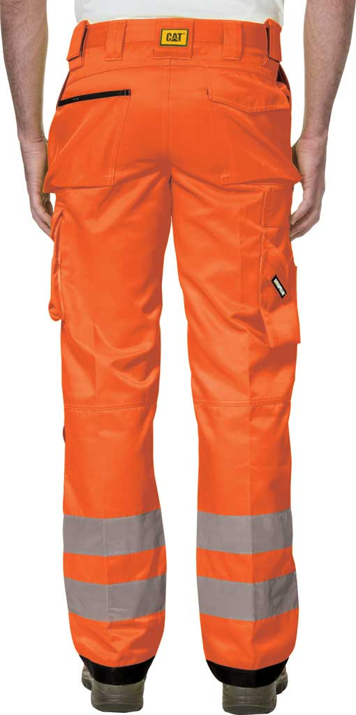 "Men's Caterpillar HI VIS Trademark Trouser - 32"" Inseam, Hi Vis Orange/B, large, image 2"