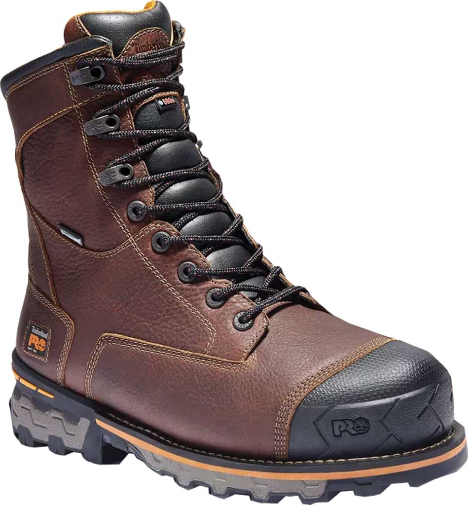 """Men's Timberland PRO Boondock Waterproof Insulated 8"""" Soft Toe, Brown Full Grain Leather, large, image 1"""