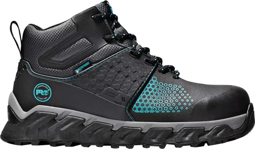Women's Timberland PRO Ridgework Waterproof Composite Safety Toe Boot, Black Ever-Guard Waterproof Leather, large, image 2