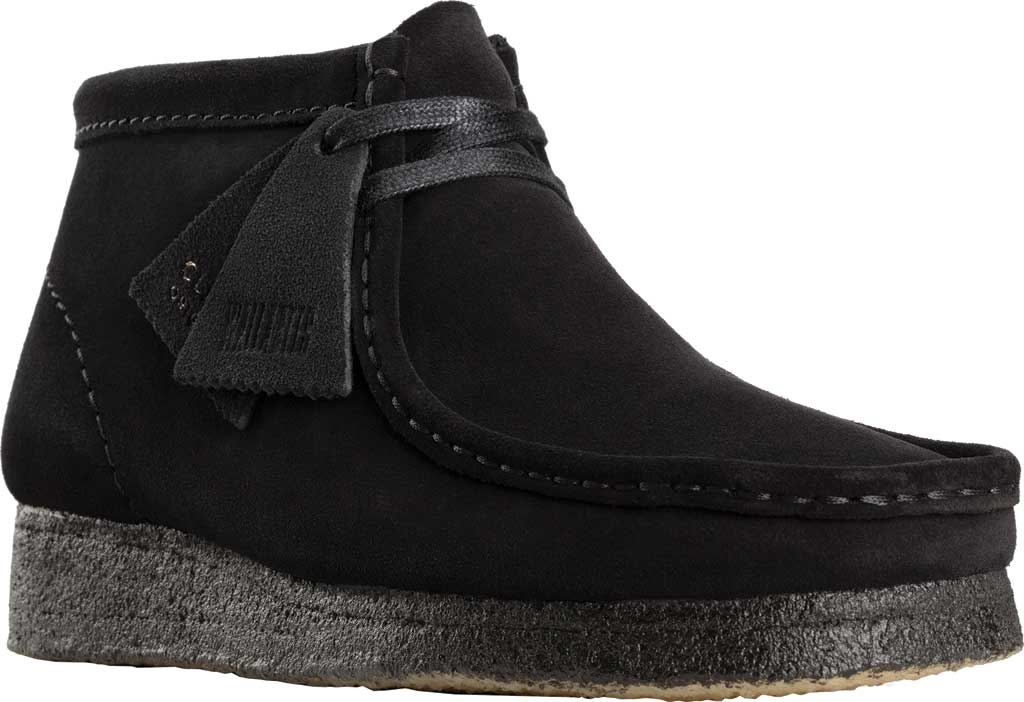 Women's Clarks Wallabee Bootie, Black Suede, large, image 1