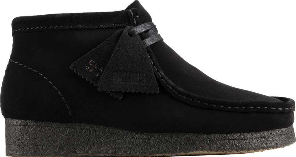 Women's Clarks Wallabee Bootie, Black Suede, large, image 2