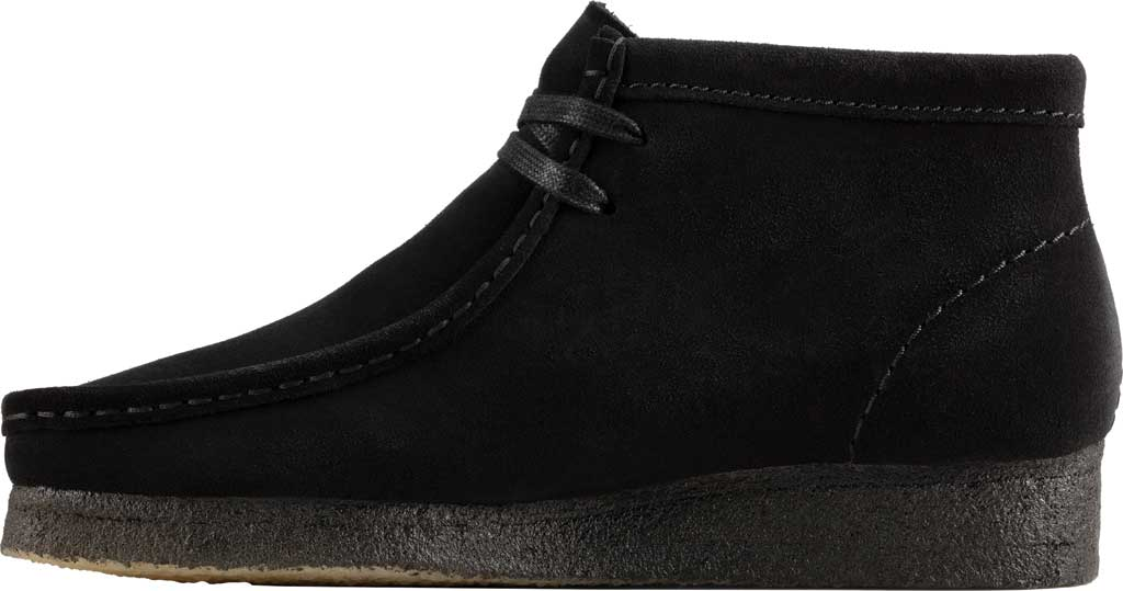 Women's Clarks Wallabee Bootie, Black Suede, large, image 3