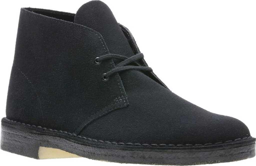 Men's Clarks Desert Boot, Black Suede 2, large, image 1