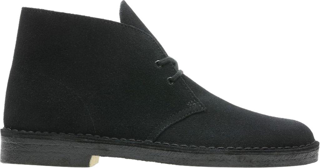Men's Clarks Desert Boot, Black Suede 2, large, image 2