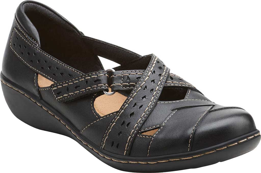 Women's Clarks Ashland Spin, Black Leather, large, image 1