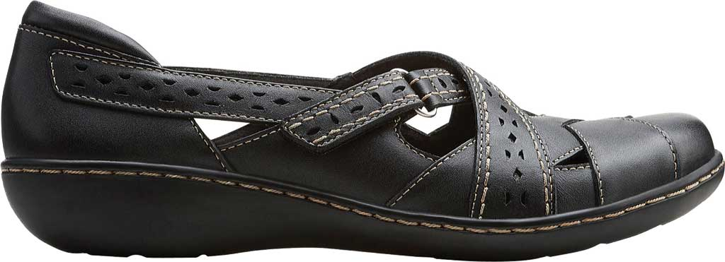 Women's Clarks Ashland Spin, Black Leather, large, image 2