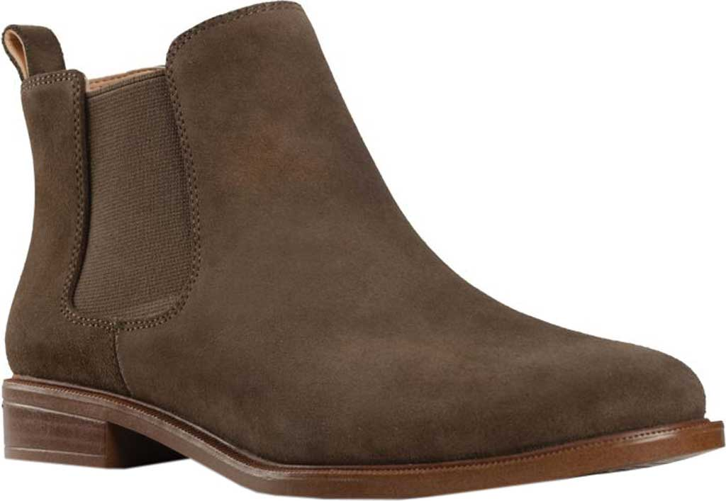 Women's Clarks Taylor Shine Boot, Dark Olive Suede, large, image 1