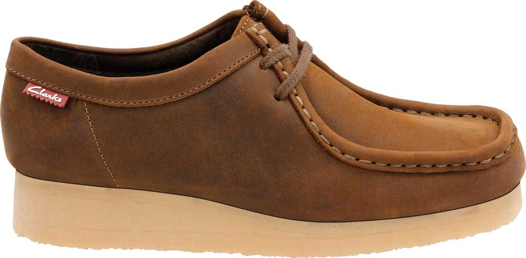Women's Clarks Padmora Moccasin, Brown Smooth Leather, large, image 2
