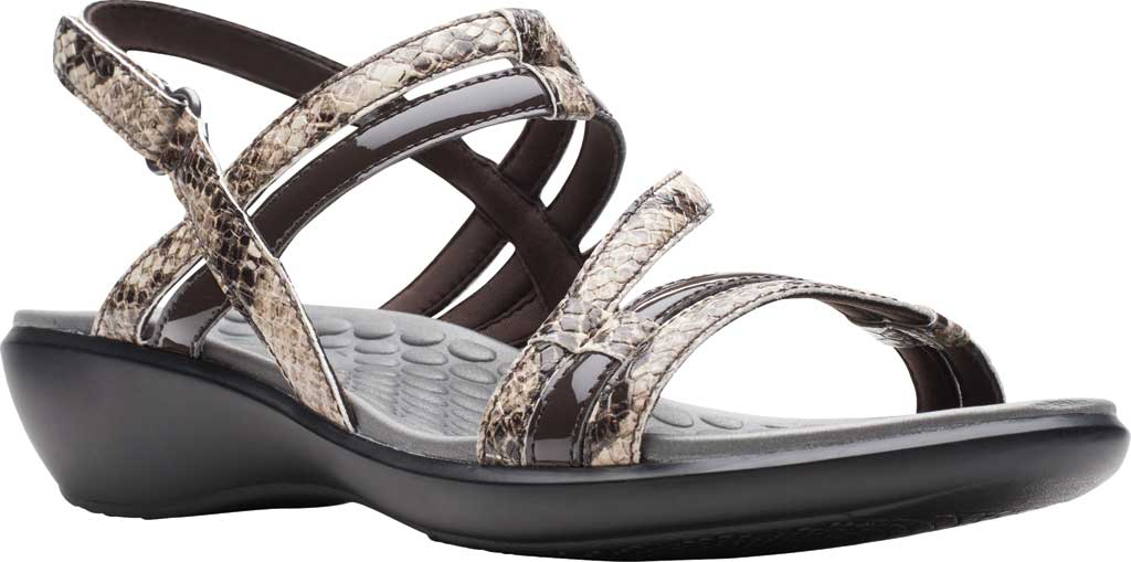 Women's Clarks Sonar Pioneer Sandal, Taupe Snake Synthetic, large, image 1