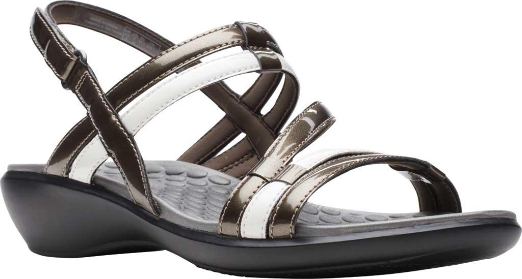 Women's Clarks Sonar Pioneer Sandal, Pewter Metallic/White Synthetic, large, image 1