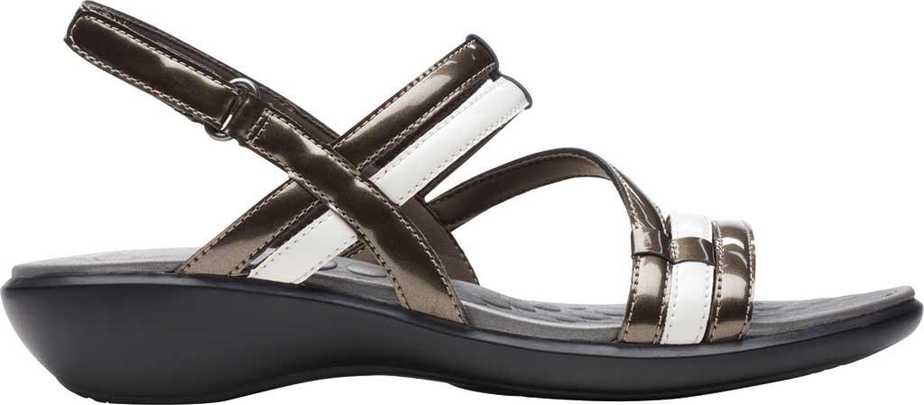 Women's Clarks Sonar Pioneer Sandal, Pewter Metallic/White Synthetic, large, image 2