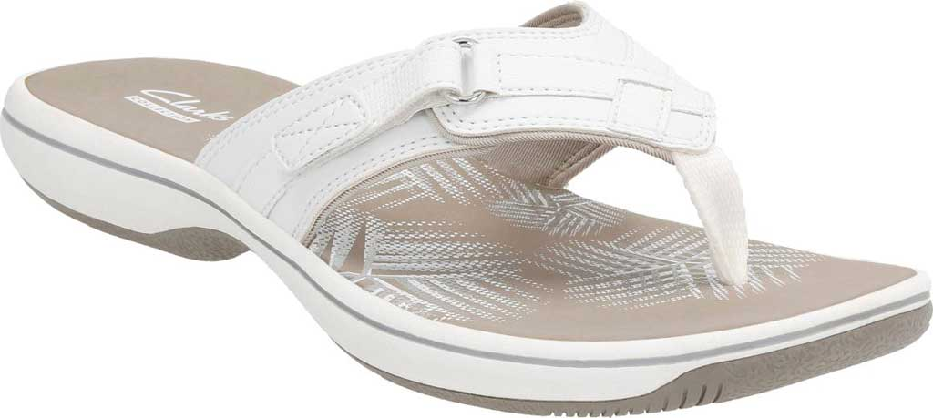 Women's Clarks Breeze Sea Flip Flop, White Synthetic, large, image 1