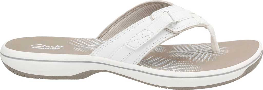 Women's Clarks Breeze Sea Flip Flop, White Synthetic, large, image 2