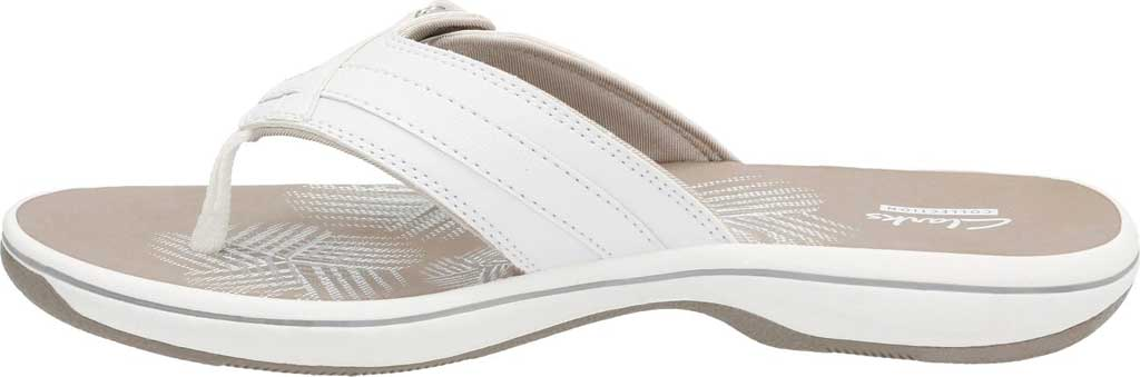 Women's Clarks Breeze Sea Flip Flop, White Synthetic, large, image 3