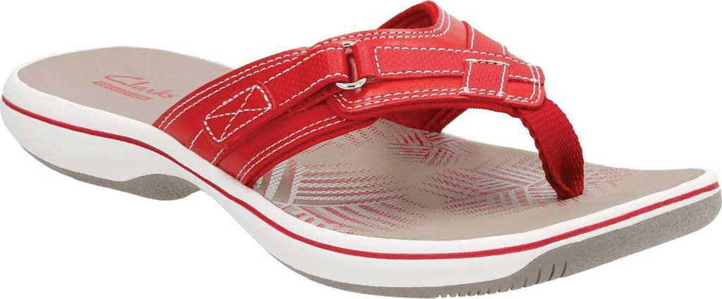 Women's Clarks Breeze Sea Flip Flop, Red Synthetic, large, image 1