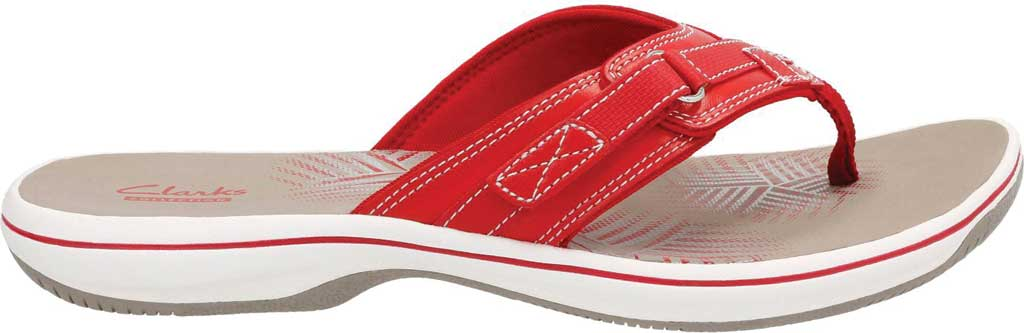 Women's Clarks Breeze Sea Flip Flop, Red Synthetic, large, image 2
